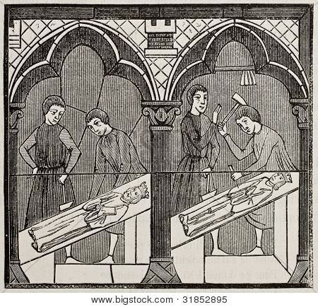 13th century craftsmen in a glass window of Chartres cathedral. By unidentified author, published on Magasin Pittoresque, Paris, 1882.