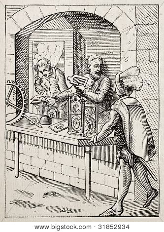 16th century watchmakers old illustration. After Amman, published on Magasin Pittoresque, Paris, 1882.