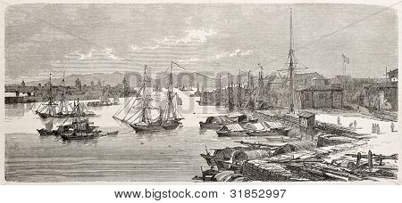 Manila old view, Philippines. Created by De Montaland, published on L'Illustration, Journal Universel, Paris, 1863
