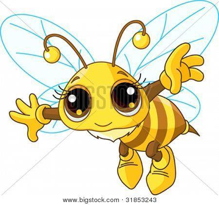 Ilustración de un vuelo de la abeja lindo amable