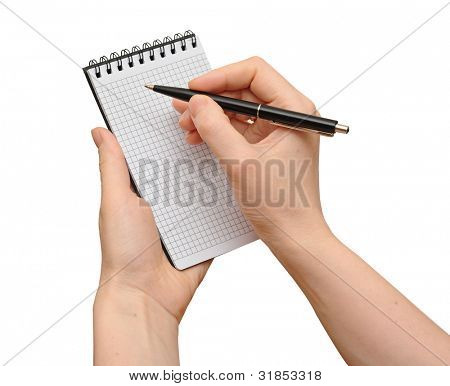 human hand take a note on blank notepad