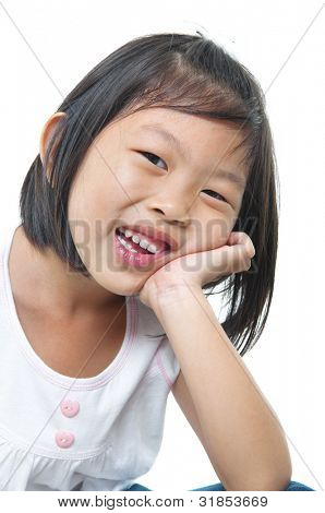 Little pan Asian girl on white background