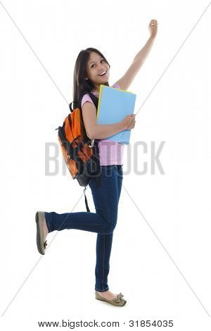 Excitement Student on white background