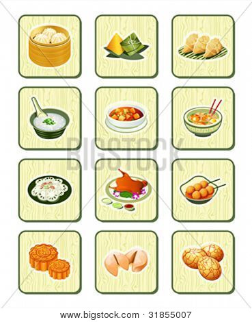 Colorful realistic chinese food icons over bamboo buttons