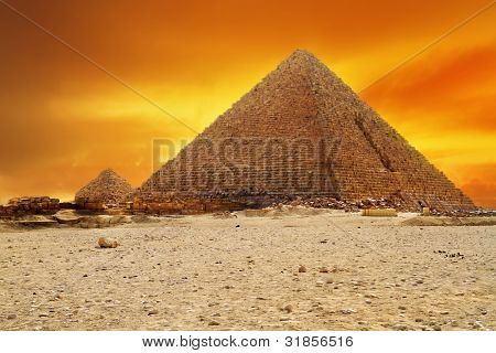 Sunset at pyramid of Menkaur in Giza, Egypt
