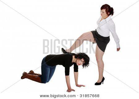 Businesswoman kicking her worker. Mobbing concept