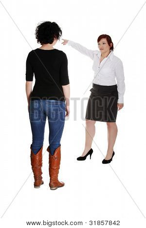 Businesswoman giving reprimand to worker. Isolated on white