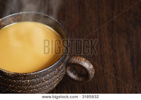 Coffee With Cream And Steam