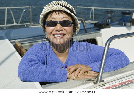 Smiling Woman on Sailboat