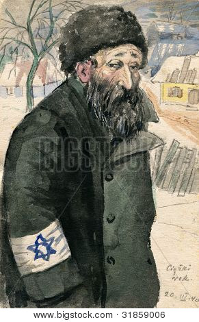 "Old Jew wearing Star of David  - nazi occupation, Poland - watercolor painting by my grandfather, Robert Andersen, in 1940. The title means ""Tough year"""