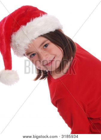 Cute Girl Wearing Santa Hat