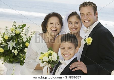 Bride and Groom With Mother and Brother