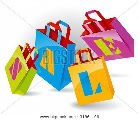 """Paper Bags for shopping with """"SALE"""" inscription. Rasterized version"""