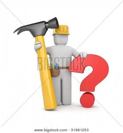 trabajador 3D con martillo y pregunta