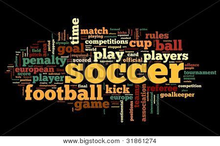 Soccer concept in word tag cloud on black background