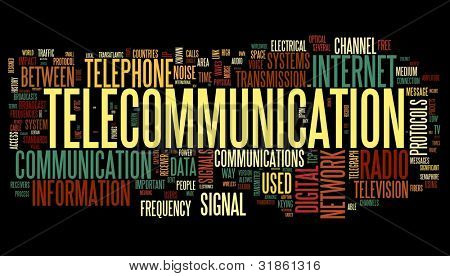 Telecommunication concept in word tag cloud isolated on black background