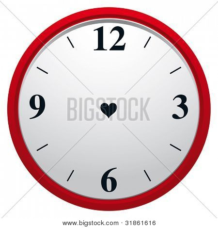 Clock with heart shaped hole. Eternity of true love symbol. Rasterized version