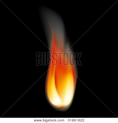Bright flame tongues with smoke. Transparent. Rasterized version