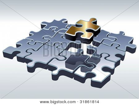 Jigsaw puzzle set. One outstanding part. Rasterized version