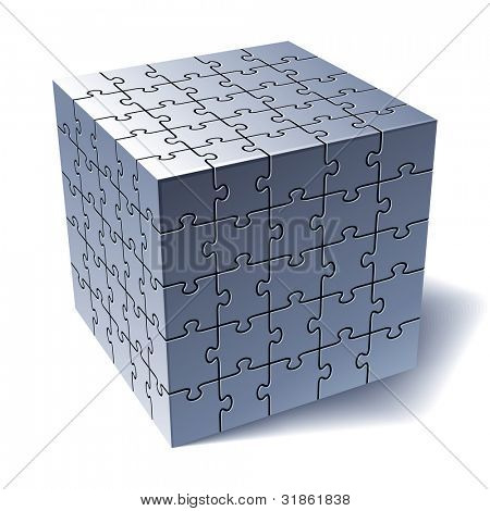 Jigsaw puzzle cube. All Parts Together. Rasterized version