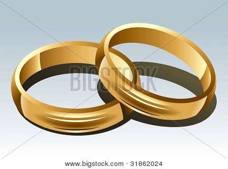 Wedding Rings on White Background. Rasterized version