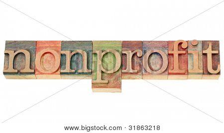 sem fins lucrativos - isolada palavra em madeira tipo de tipografia vintage