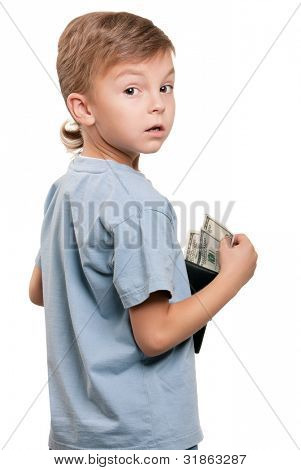 Portrait of a little Boy hält eine Dollar over white background