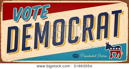 Vintage Vote Democrat metal sign - Raster version