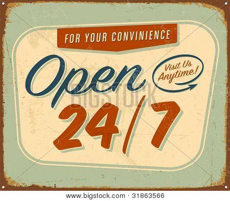 Jahrgang Zinn Zeichen öffnen 24/7-Zeichen-Raster-Version.