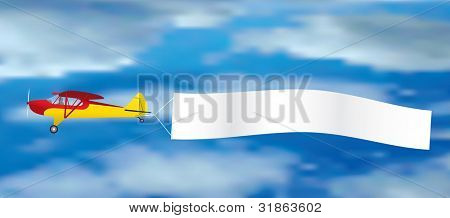 vector vintage plane with blank banner