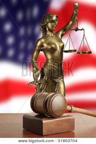 Gavel and Lady of Justice  and USA flag