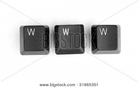 Keyboard keys saying www isolated on white