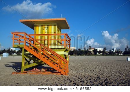 Green And Yellow Lifeguard Tower In South Beach