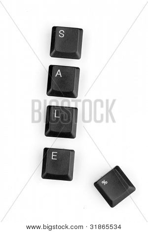 Keyboard keys saying sale isolated on white