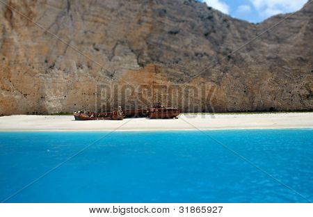 Navagio beach with ship-wreck in Zakynthos, Greece
