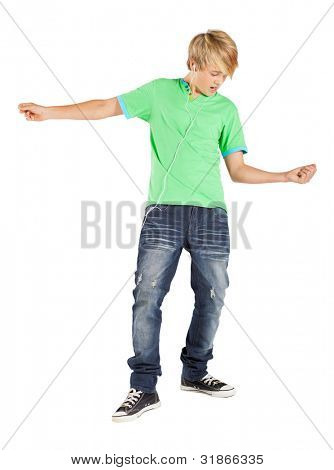 teenage boy playing air guitar isolated on white