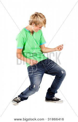 teen boy playing air guitar
