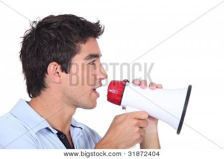 Man speaking into a megaphone