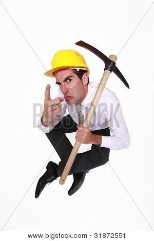foreman with pickaxe looking authoritative