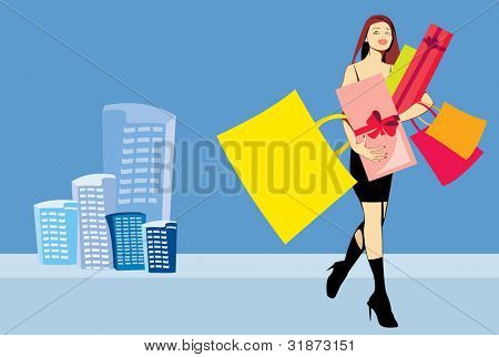 vector image of pretty woman with presents after shopping