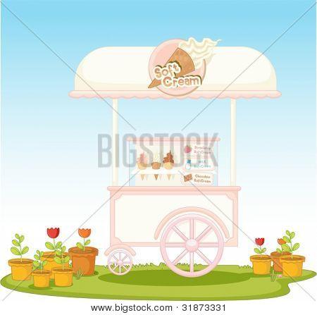 Illustration of an ice-cream cart