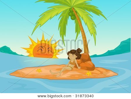 Young girl on a deserted island