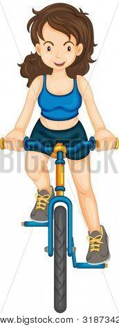 Ilustração da menina de andar de bicicleta