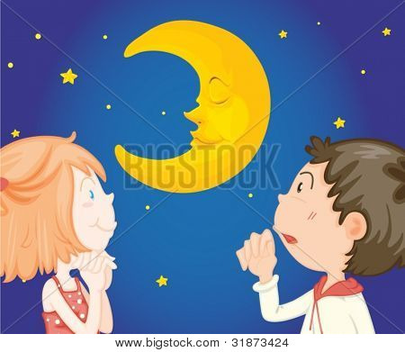 Couple looking at night sky