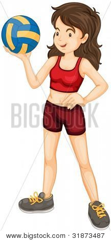 illustration of lady holding volleyball