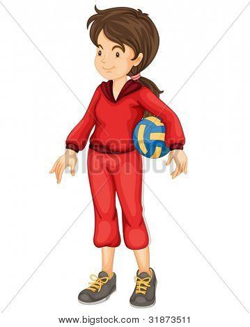 Ilustração de uma menina de esportes em branco