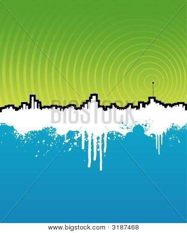Grunge Cityscape Background With Music Antenna