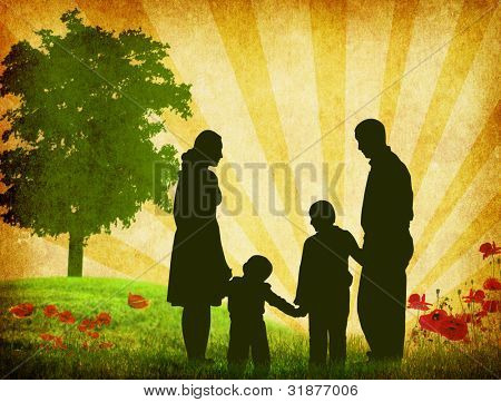 silhouette family sunny day vector