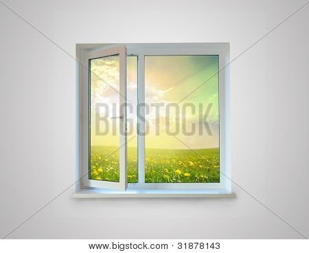 New closed plastic glass window frame isolated on the white background