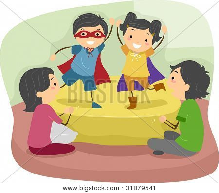 Illustration of Kids Doing a Role Play in Front of their Parents